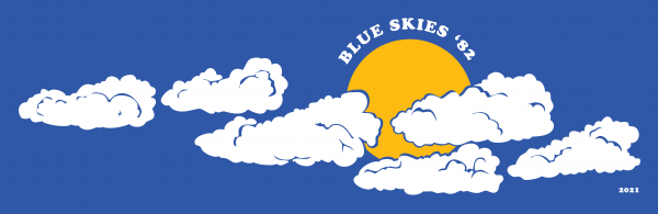 Re-creation of the first Blue Skies 1982 t-shirt by David Cavaliere