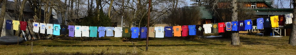 Magoo's Blue Skies t-shirt collection barely fits on his line!